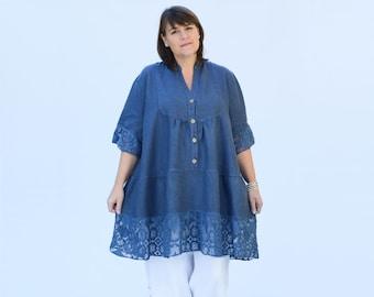 5524fdf293 Womens Plus Size Clothing, Plus Size Linen Tunic Top, Lagenlook Clothing,  Lace, Plus Size Linen, 16 18 20 22 24 26 28 30 32 DENIM BLUE 9875