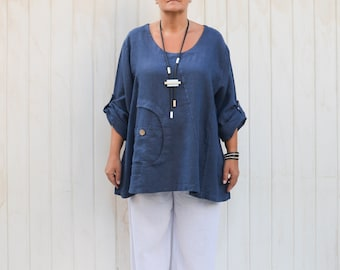 3afc00c94d9 Lagenlook Clothing Plus Sizes 16 18 20 22 L XL XXL Tunic Top Linen,  Black,Rust,Navy,Charcoal,Navy Blue,Purple,Denim - 9747