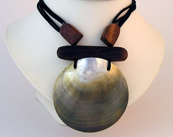 Ladies Lagenlook Necklace Shell Pendant Statement Jewellery Adjustable Boho Hippie Beach, Gift for her, Cord, Valentine Gift  D931