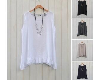 9365e34f46068a Ladies Lagenlook Plus Size Tunic Top Linen Womens Vest 100% Linen