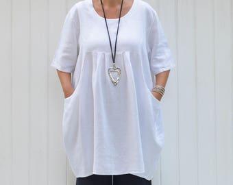 a2c48979049 Linen Shirt Dress Womens Plus Size Shirt Lagenlook Clothing