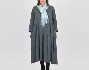 6fd2191fbbe Ladies Lagenlook Long Tiered Maxi Dress