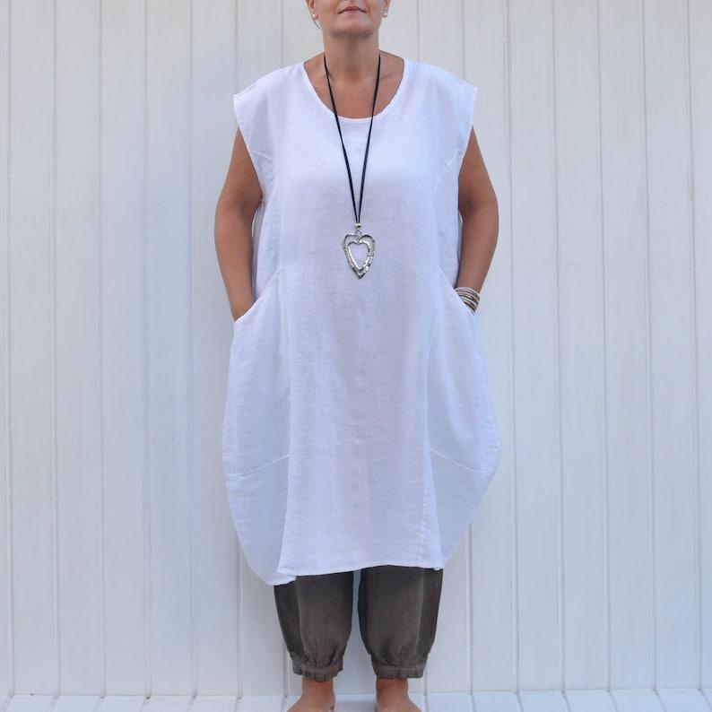 c8a71ccb14 Plus Size Lagenlook Clothing Linen Dress Cap Sleeve Deep