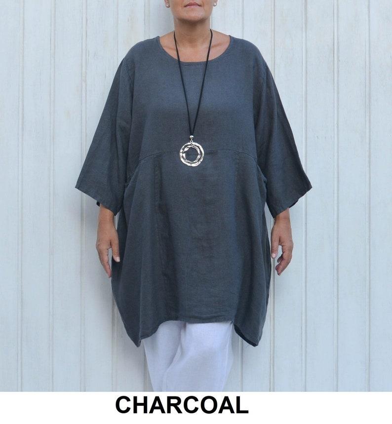 f878e30b26 Plus Size Tunic Womens Shirt CHARCOAL GREY Gray Lagenlook