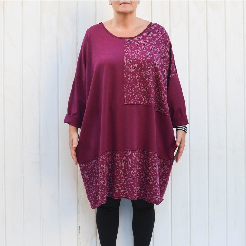 1443afbb07 Lagenlook Quirky Thick Cotton Tunic Top Dress with Pockets
