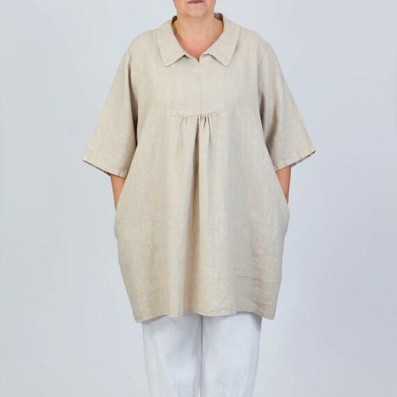 73373a80d6e Womens Vintage Lagenlook Linen Plus Size Blouse Shirt
