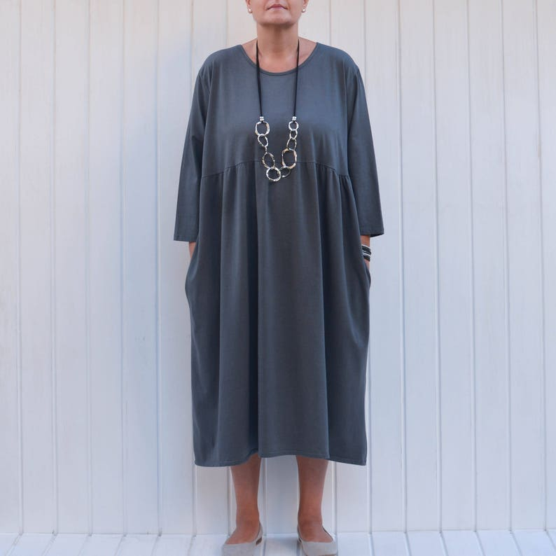 Plus Size Casual Cotton Smock Dress, Pleated Bustline, Lagenlook Dress,  Prairie Dress, Maxi Dress, UK 16-32 1X 2X 3X 4X 5X 9449