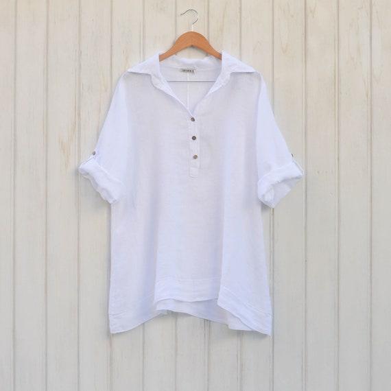 2aaaf29c9d2 Lagenlook Plus Size Linen Blouse Ladies Short Sleeve Vintage