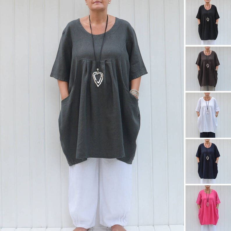 Womens Plus Size Shirt Plus Size Tunic Linen Top Lagenlook Etsy
