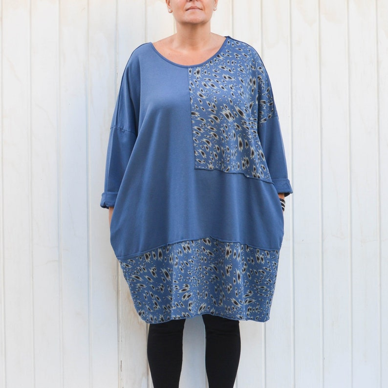 e24e7768b28 Lagenlook Quirky Thick Cotton Tunic Top Dress with Pockets