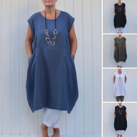c9944f6a043 Plus Size Lagenlook Quirky Linen Dress Cap Sleeve Deep