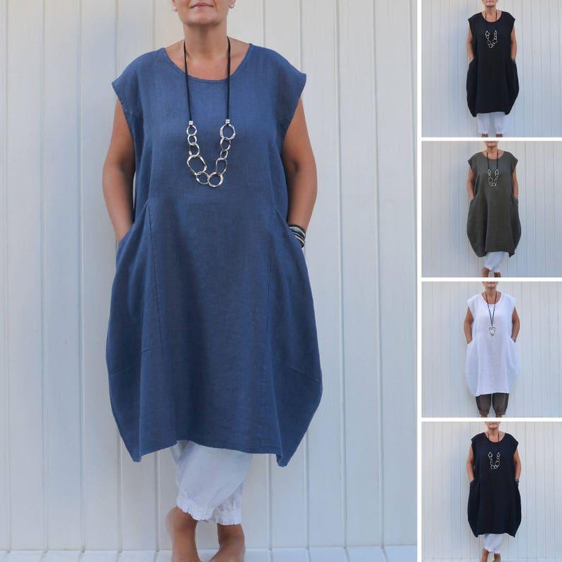 13849e86a5 Plus Size Lagenlook Quirky Linen Dress Cap Sleeve Deep