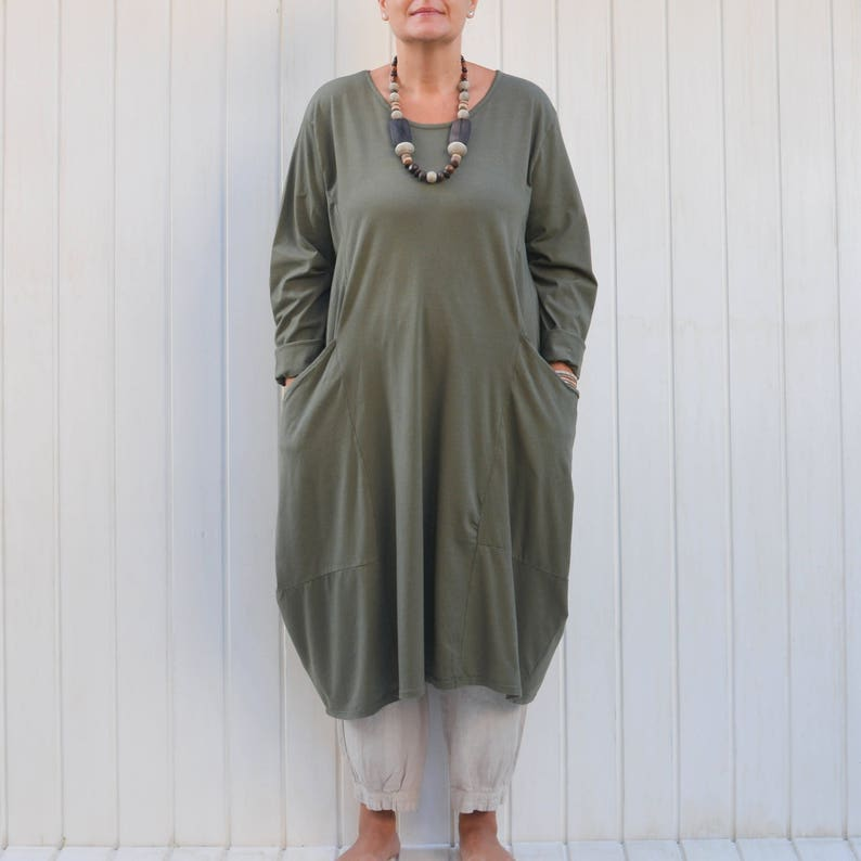 Italian Tunic Top Grey Tie Dye Frill Boho Lagenlook Plus Size UK  18 20 22 24