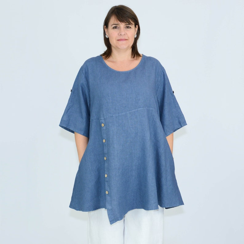 6c92242fada PURE PLUS Womens Ladies Lagenlook Quirky Quality Linen Tunic