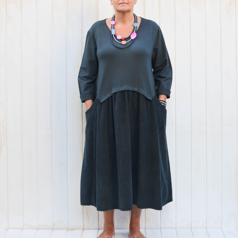 26738f29f8 Ladies Lagenlook Plus Size Corduroy Dress Boho Quirky Plus