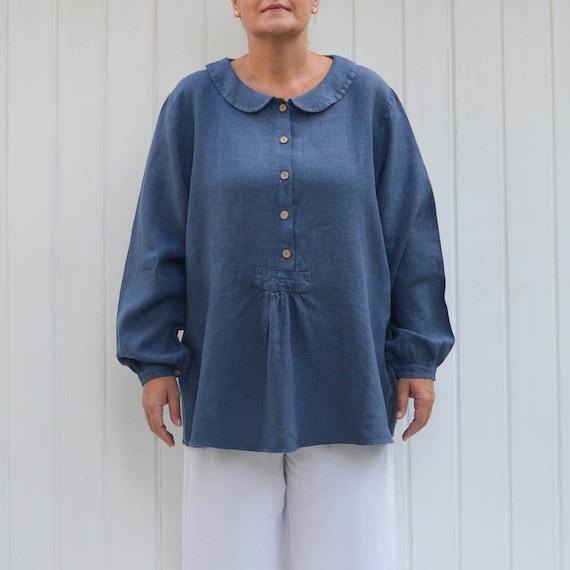 2511ada9427 Ladies Plus Size ShirtLinen BlouseLinen Plus Size TopPeter