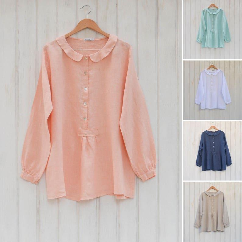 b9b50d3306f Plus Size Linen Lagenlook Linen top Ladies Long sleeve linen