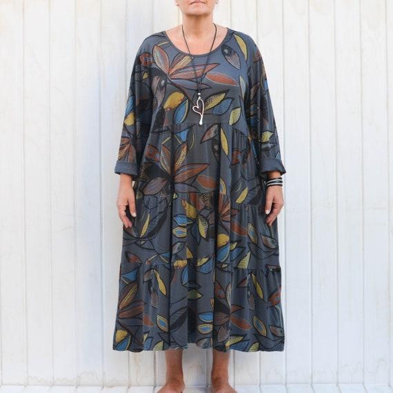 f156f79617 Ladies Lagenlook Leaf Print Long Maxi Dress Bohemian