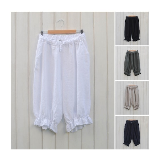 daddf3a0f6d Lagenlook Plus Size Linen Shorts Bloomers Vintage Style