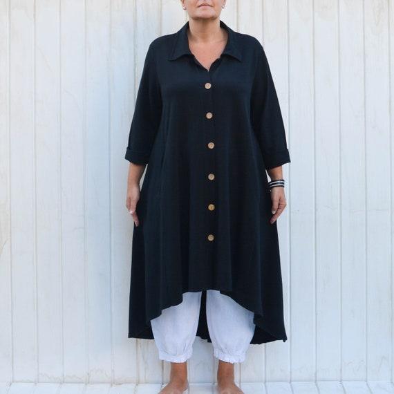 fbbd5b74a1e Ladies Women s Lagenlook Jacket Overcoat Long Shirt