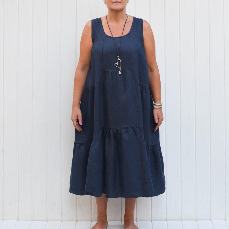 83d609c78f Lagenlook Linen Sundress Maxi Dress Vintage Bohemian Boho
