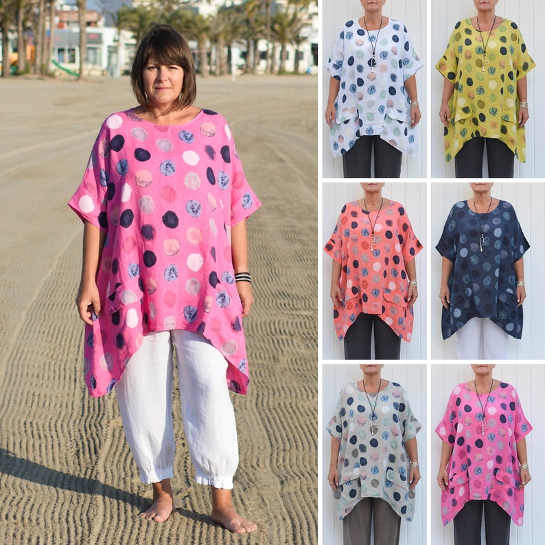 New Ladies Plus Size Cotton Summer Italian Lagenlook Polka Dot Top Dress Pockets