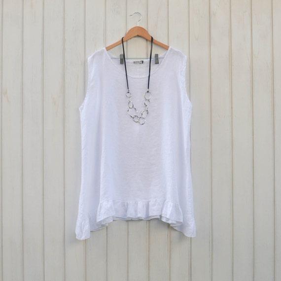 201715b6a62 Womens Ladies Lagenlook Plus Size Tunic Top 100% WHITE Linen