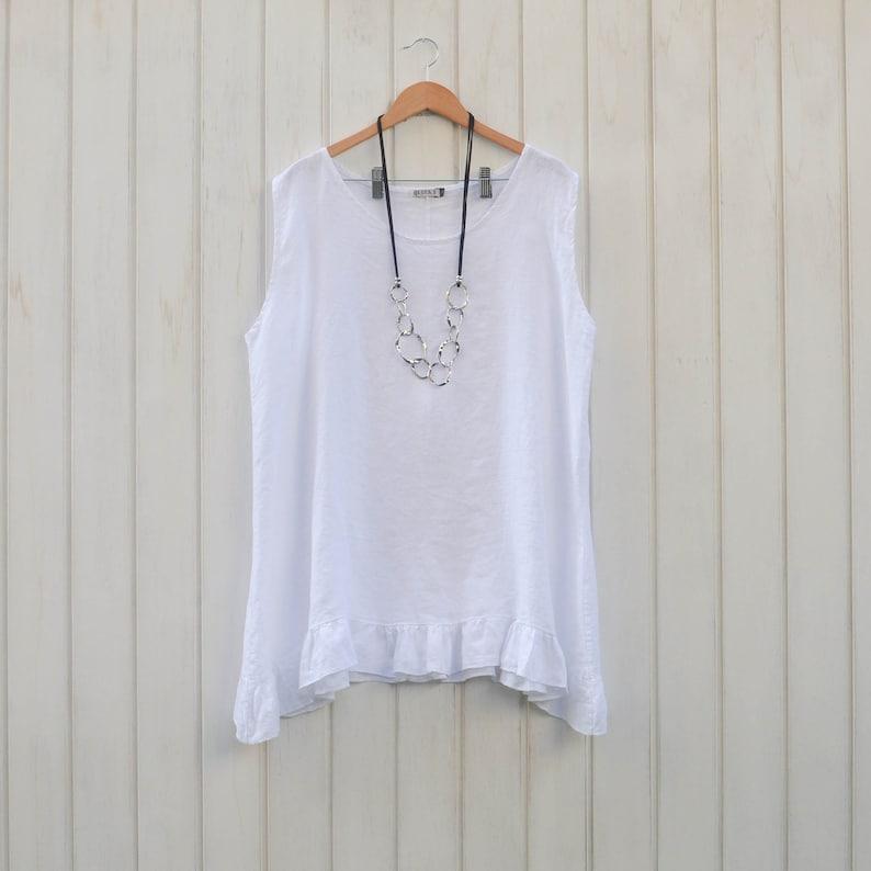 3804ac705f Womens Ladies Lagenlook Plus Size Tunic Top 100% WHITE Linen