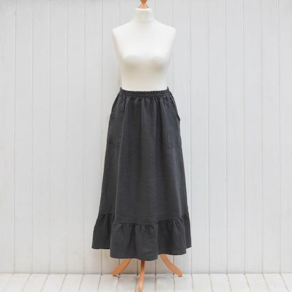 c9a10382dc Lagenlook Plus Size 100% Natural Linen Skirt Vintage Style