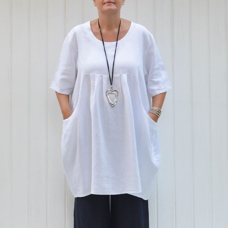 LAGENLOOK HEAVY LINEN OVERSIZED 2 POCKETS TUNIC SHIRT**WHITE**BUST UP TO 54/""