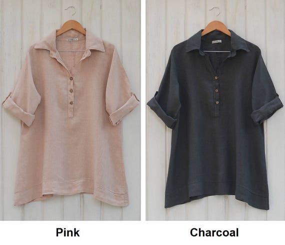 74687573baa Lagenlook Plus Size Linen Blouse Women s Shirt Quirky