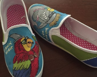 Hand Painted Parrothead Jimmy Buffett Themed Shoes