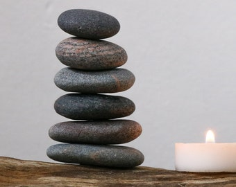 Beach Stone Cairn - Stress Relief Gift - Relaxation - Wabi-Sabi - Zen Balance - Granite Pebbles - Baltic Sea