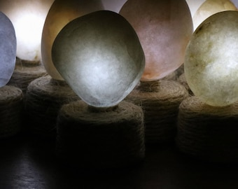 Battery Operated Light Small Night Light - Quartz Beach Stone -  Meditation Altar - Flameless Candle - Table Centerpiece - Mindfulness Gift