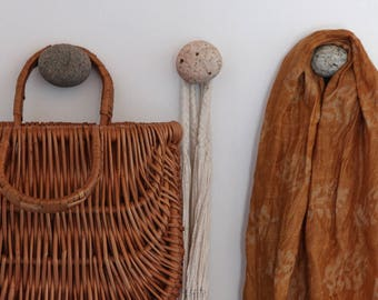 Set of Beach Stone Wall Hooks - Granite Cabinet Knobs - Coastal Bathroom - Towel Holder - Rock Pull - Wall Organizer - Coat Hanger