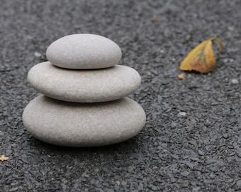 Small Beach Stone Cairn - Zen Garden - Terrarium - Bathroom Decor - Stacking Pebbles