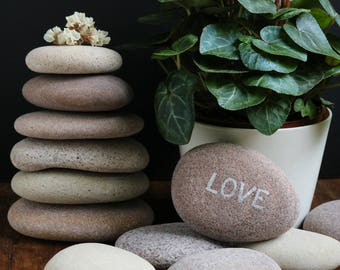 Beach Stone Guest Book - Beach Theme Party - Extra Large Pebbles - Rustic Wedding - Big Flat Stones
