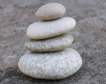 Stone Stack - Meditation Altar - Stress Relief - Pebble Cairn - Relaxation - White Rock Stack - Beach Party Decoration