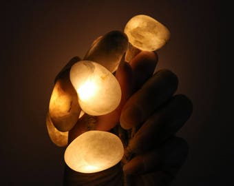 Quartz Pebble Battery Operated Fairy Lights - Beach Wedding String Lights - Art Light Rope Garland - Coastal  Baltic Sea Home Decor