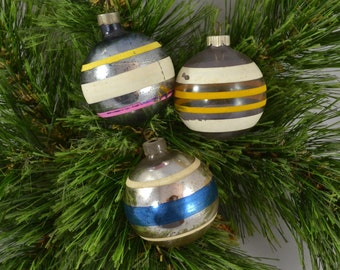 Vintage Glass Ball Striped Christmas Ornaments