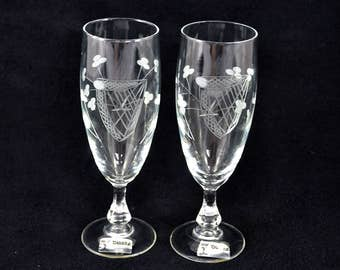 Vintage Irish Hand Cut Cordial Glasses, Duiske Harp And Shamrocks