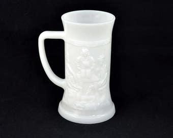 Vintage Beer Stein, Milk Glass German Beer Mug By Federal Glass