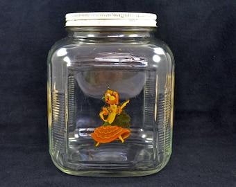 Vintage Square Glass Jar With Chiquita Banana Lady, Large Lidded Glass Jar With Chiquita Advertising