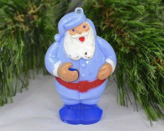 Vintage Blue Celluloid Santa Claus Christmas Ornament, Mid Century Hard Plastic Santa Ornament