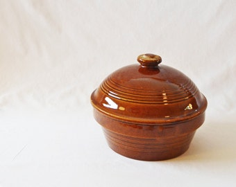Large Vintage Covered Glazed Brown Stoneware Dish