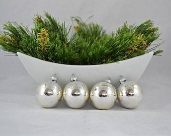 Vintage Shiny Brite Silver Glass Ball Christmas Ornaments With Silver Glitter