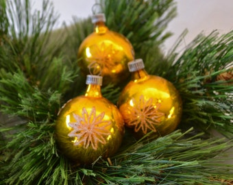Vintage West German Gold Glass Ball Christmas Ornaments With Flocking