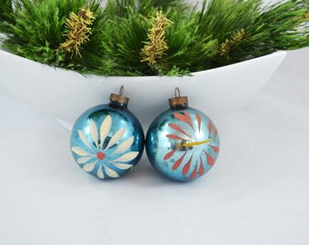 Vintage Hand Painted Blue Glass Ball Christmas Ornaments, Hand Painted Flower Ornament
