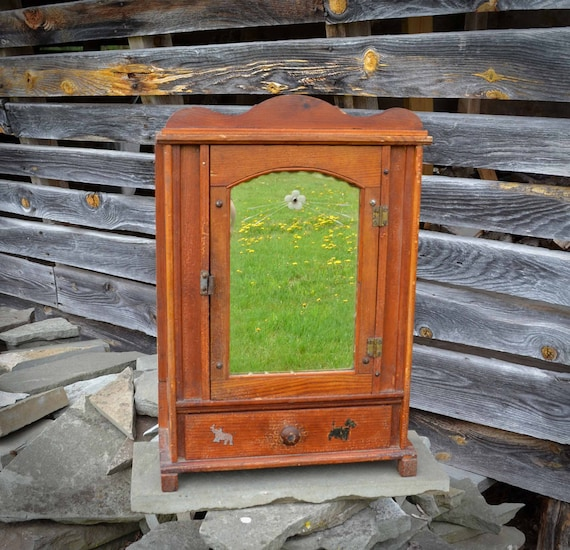 image 0 - Antique Wooden Medicine Cabinet With Etched Glass Front And Etsy