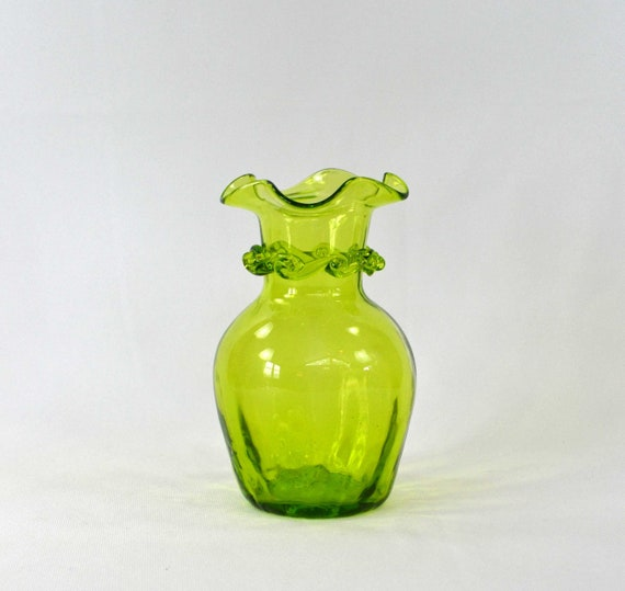 Hand Blown Art Glass Vase Vintage Green Glass Vase With A Etsy